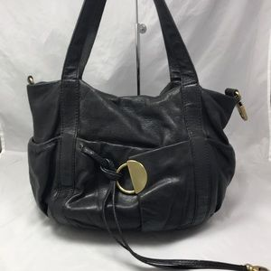 KOOBA Black Leather Gathered Shoulder Bag